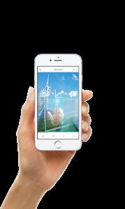 Holzgas-KWK Anlagen: Hand hält Mobiltelefon